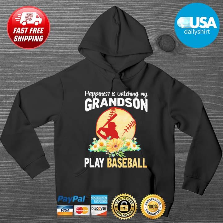Happiness is watching my grandson play baseball flower HOODIE DENS