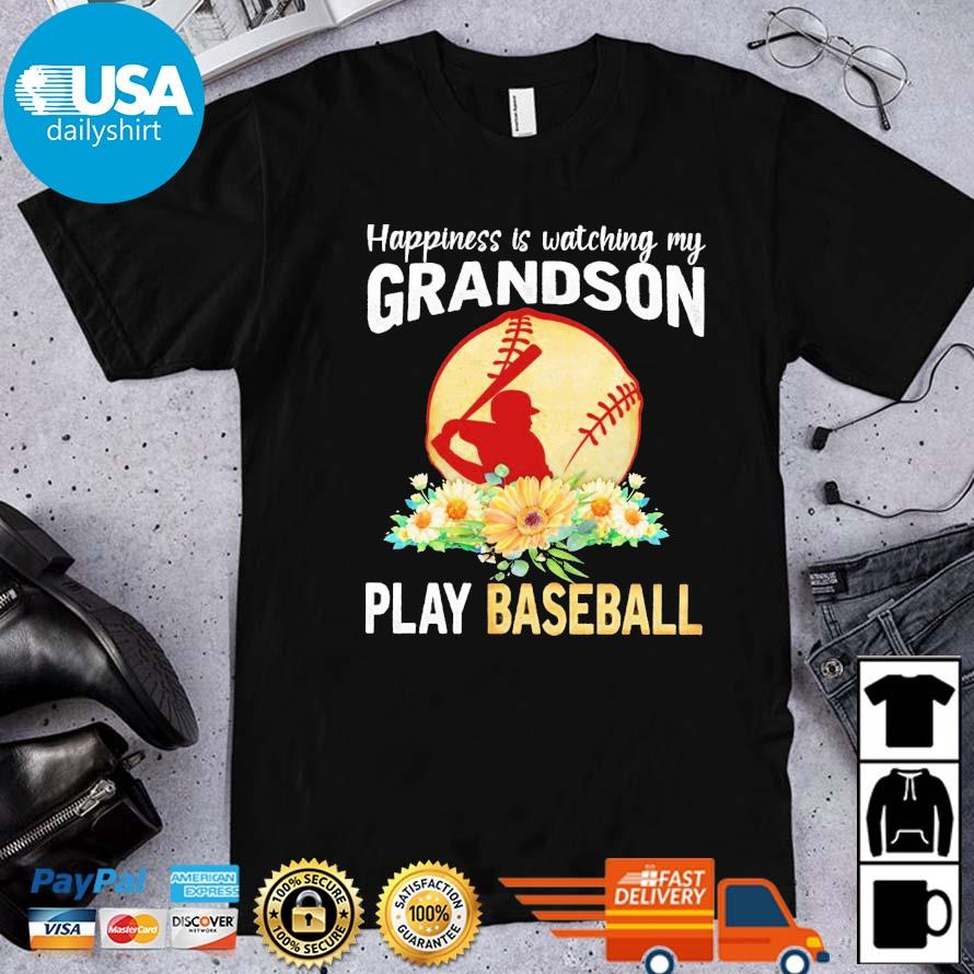 Happiness is watching my grandson play baseball flower shirt