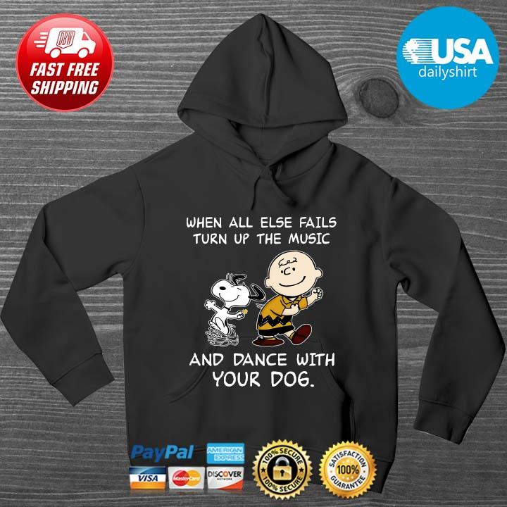 Snoopy and Charlie Brown when all else fails turn up the music and dance with your dog HOODIE DENS