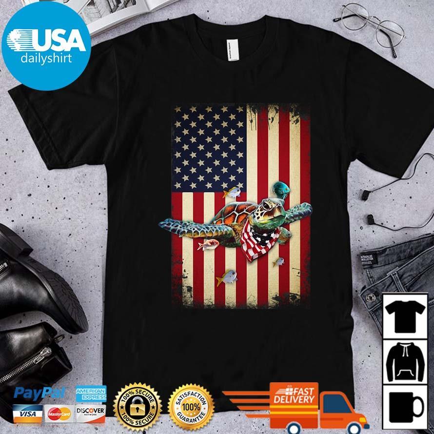 Turtles American Flag 4th Of July Shirt