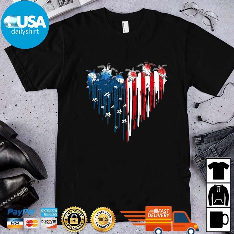 Turtles Heart America 4th Of July Shirt
